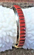 Zuni Inlay Red Mediterranean Coral Collectible Signed Gasper Silver Bracelet Usa