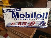 Mobil Oil For Motorcycles Abbd Tin Metal Sign Perfect Bar Man Cave Hot Rod