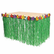 Hawaiian Luau Green Table Grass Flower Skirt 9ft Hibiscus Party Decorations