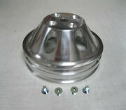 Small Block Mopar Polished 2 Double Groove Upper Water Pump Pulley Dodge + Bolts