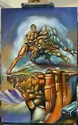 Boris Vallejo Style Painting Taurus Reproduction 24x36x0.5 Inches Oil On Wood