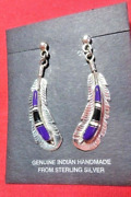 Zuni Inlay Purple Sugilite Silver Feather Post Dangle Earrings Collectible Usa
