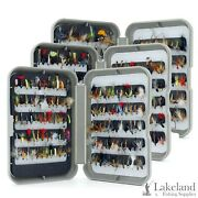 Grey Fly Box With A Mixed Assortment Of Flies For Trout Fly Fishing
