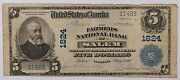 1902 5 U.s. National Currency Banknote Farmers Salem Va 3rd Issue 2 Known