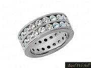 Natural 3.65ct Round Diamond Classic Double Row Eternity Ring 10k Gold G-h I1