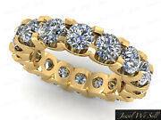 Natural 3.15ct Round Diamond Shared U-prong Eternity Wedding Ring 14k Gold H Si2