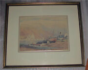 Canadian Painting Watercolor By A. C. Leighton The Fishing Boats 1930and039s