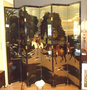 Large 6 Panel Oriental Lacquered Screen With Hand Painted Fox Hunt Scene