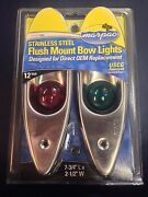 Pair Of Flush Mount Stainless Steel Red And Green Bow Navigation Lights - 1 Mile