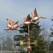 Copper 2 Geese And Flying Pig Weathervane With Balls And Directionals 409