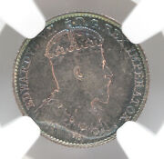 1909 Canada 5 Cents Silver Km13 Edward Vii Holly Leaves Ngc Au58 90244h