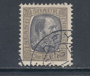 Iceland Sc 43 Used 1902 50a Gray And Black King Christian X, Crisp Cancel