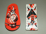 Antique 1940's Pair Halloween Tin Litho Noise Makers Usa- Witch Owl Pumpkin Moon