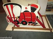 Vintage 1950's Wood Train Theme Ride On Safe T Glide Rocker Bouncer Riding Toy