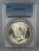 1922 Silver Peace Dollar 1 Pcgs Ms-63 Better Coin 12g