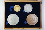 Israel 4 Pc Gold Silver And Bronze Peace State Medal Set W/ Wooden Case No Coa A