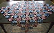 Beautiful Antique Vintage Crocheted Pink , White And Blue Tablecloth 45 X 44