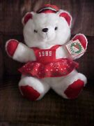 Vintage 1989 White Female Red Christmas Kmart Bear With Tags 20 Santa's Club