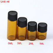 Whole Sale 1ml-5ml Small Tiny Amber Glass Bottle Vial With Double Cover