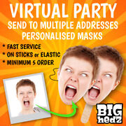 Virtual Zoom Party - Personalised Face Masks Min 5 Stag Do Hen Night Party Photo
