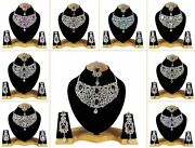 Indian Bollywood Style Fashion Gold Plated Bridal Jewelry Necklace Set, Style 10