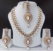 Indian Bollywood Style Fashion Gold Plated Bridal Jewelry Necklace Set Style 12