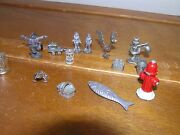 Vintage To Now Large Lot Of Miniature Pewter Metal Basket Bucket Fire Hydrant