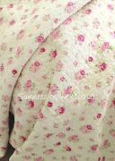 Shabby Cottage Chic Pink Roses Wine Rosebud Queen Quilt And Pillow Shams Butter