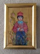 Original Oil Painting By Edna Hibel With Gold Leaf Frame Of A Chinese Boy