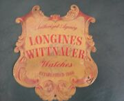 Vintage Longines Wittnauer Watches Agency Ornate Engraved Brass Sign 8 By 8 3/4