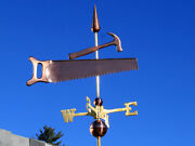 Saw And Hammer Weathervane W/copper Balls And Brass Directionals Made In The Usa