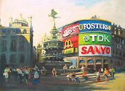 Original Painting Of Piccadilly Circus In London By American Nino Pippa 18 X24