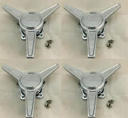 Set Of 4 Spinner Fits U.s. Mags Wheel Rim Chrome Center Caps Tribar Knockoff