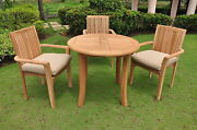 Vellore A-grade Teak Wood 4 Pc Dining 36 Round Table Arm Stacking Chair Set New