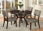 Drake Modern Espresso Finish Round Dining Table And 4 Side Chairs Dining Set 5pcs