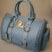 Nwot Versace Woven Leather Large Doctor Bowler Handbag-iced Blue-made In Italy