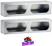 Set Of 2 - Smooth Aluminum Double Oval, Tail Light Boxes For Wrecker, Truck Body