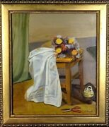 Exquisite ca.1970 Floral Bouquet w/Table Cloth Painting Oil/Canvas/Frame
