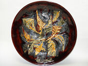 Large 60's Signed Gofer Israel Glazed Ceramic Abstract Art Wall Plaque Plate 15