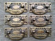 6 Arts And Crafts Antique Style Brass Handles Pulls Hardware 3 1/8w H33