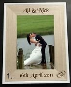 Personalised Engraved Wedding/engagement Wooden 4 X 6 Photo Frames