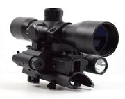 Sks 4x32 Mil Dot Scope With Red Laser Flashlight And Tri-rail Mount Combo