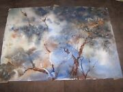 Signed Original Watercolor By Peg Humphreys, Abstract Oak Trees 22 3/4x16 1/4