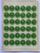 Vintage Buttons - 36 Small Apple Green Casein 4-hole British Made Buttons