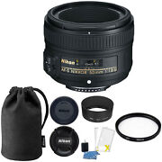 Nikon Af-s 50mm F/1.8g Lens W/ Caps, Pouch, 58mm Uv Filter And Cleaning Essentials