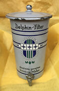 Andldquodelphinandrdquo Art Deco Hand Painted Antique Metal/pewter Water Filter 1900andrsquos