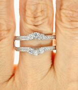 14kt White Gold 3/4ctw Diamond Solitaire Engagement Wedding Ring Guard Band