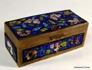 Antique Chinese Enamel And Brass Floral Stamp Box