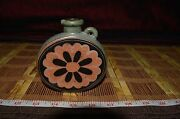 """Small Round Asian Art Pottery Vase Bottle with Handle Flower Design 4 3/8""""x4"""""""