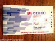 1965 Corvette/ Chevelle Ss Factory Gm Owner Protection Plan Booklet First Edt.